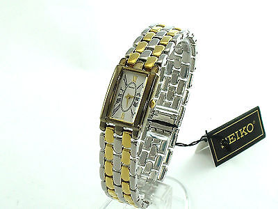 SEIKO Ladies SXJR37 Small Rectangle White Dial 2tone Bracelet Retail $325 w/box