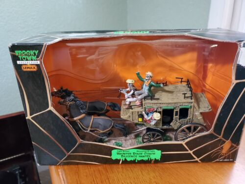 Lemax Spooky Town Haunted Stage Coach 73607 Halloween Western Damaged See Desc
