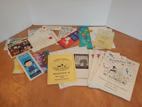 LARGE LOT OF BEAGLEFEST, PEANUTS, SNOOPY PROGRAMS, CARDS, MAPS, ETC.