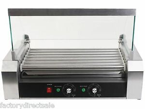 New 18 Hot Dog Hotdog 7 Roller Grill Cooker Commercial Grilling Machine W/ cover