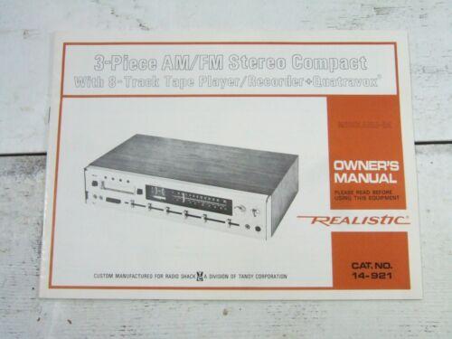 Vtg Realistic 3 Piece AM FM Stereo Compact 8 Track Quatravox #14-921 Instruction