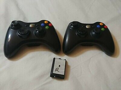 Pair of Black Microsoft Xbox 360 Controllers Black with 1 Battery Door for sale  Shipping to India