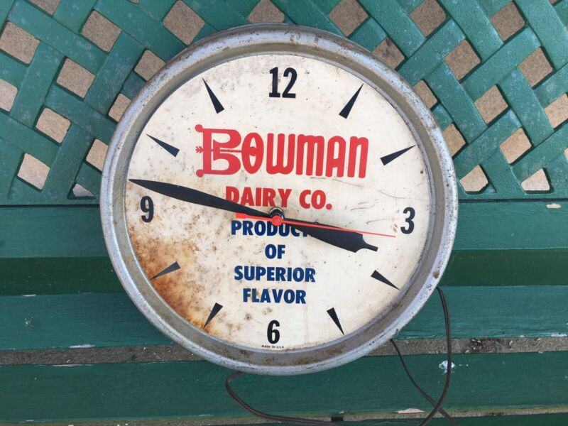 Vintage Early Bowman Dairy Advertising Clock ~ Chicago, Illinois ~ Works