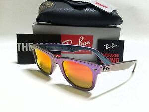 ray ban vision 13io  RAY-BAN WAYFARER COSMO RB2140 611169 PURPLE BLUE/ORANGE MIRROR LENSES 50mm