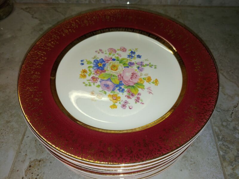 "Aristocrat By Salem China Dinner Plates 10"" 23K Gold Burgundy"