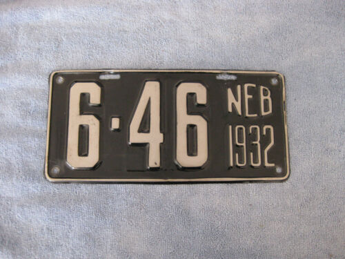 """NEBRASKA """"6"""" COUNTY 1932 LICENSE PLATE VERY NICE"""