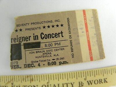 1978 Foreigner Concert Ticket Stub Huntsville Alabama Double Vision Hot Blooded