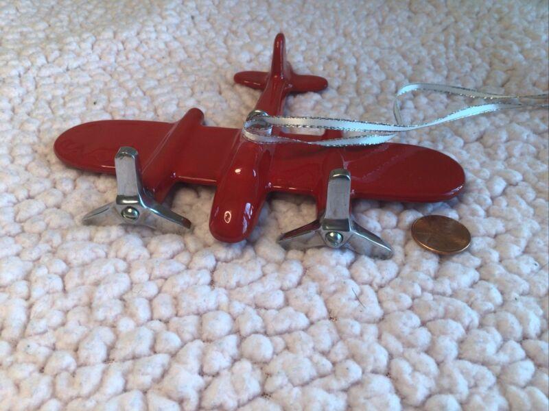 Pottery Barn Enamel Metal 2 Propeller Prop Plane Ornament Red