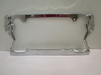 License Plate  Frame Silver-tone with Ladies on Sides-Truckers Plates Classic XX