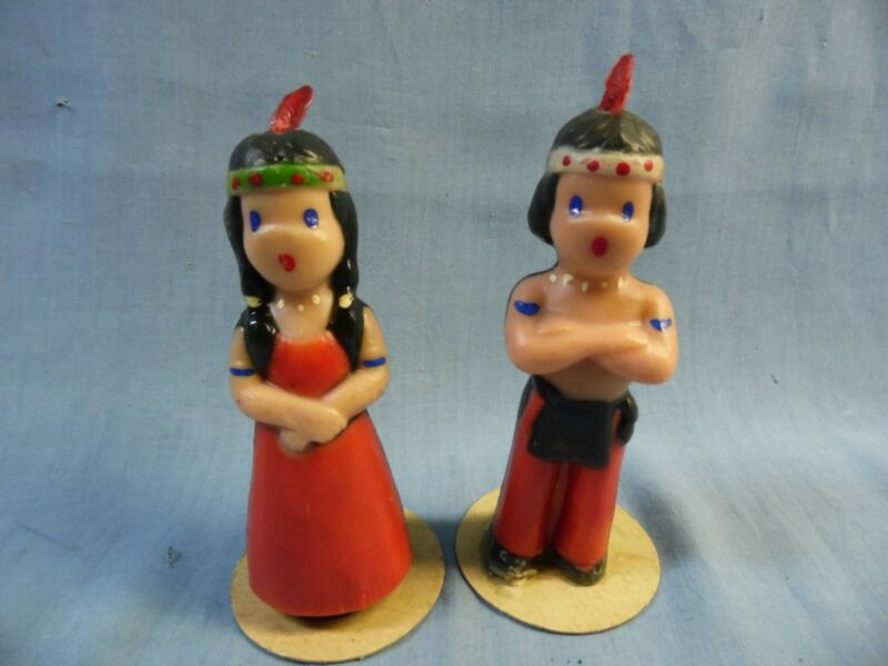 """VINTAGE PAIR GURLEY NATIVE AMERICAN INDIAN BOY & GIRL 6"""" THANKSGIVING CANDLES!"""