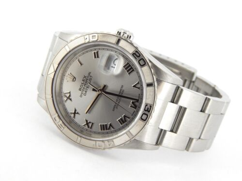 Rolex Datejust Mens Stainless Steel Thunderbird Turn-o-graph Oyster Roman 16264