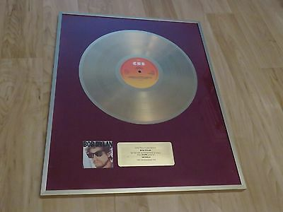 Bob Dylan - Infidels - Switzerland Gold Record Award - Rare