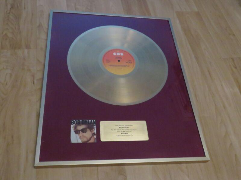 Bob Dylan - Infidels - Switzerland Gold Record Award - Rare