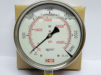 High Pressure Gauge 3000 Bar 42500 Psi Gly Filled Ss Body- Common Rail Appl.