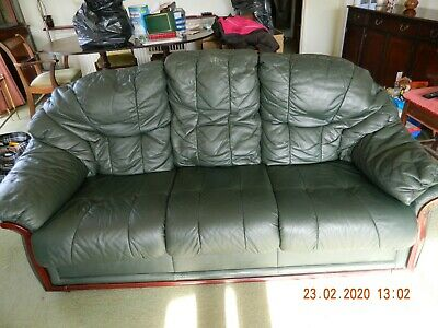 KLAUSSNER GREEN LEATHER 2 x 3 SEATER SOFA, ARMCHAIR & FOOTSTOOL