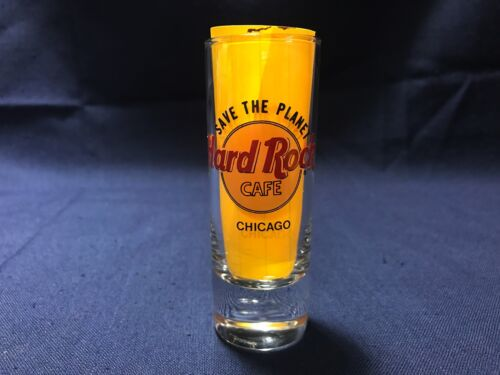 """Hard Rock Cafe CHICAGO Illinois Save The Planet 4"""" Shooter Double Shot Glass"""