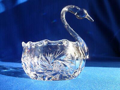 Cut Glass Crystal Swan Nut, Candy Or Trinket Bowl