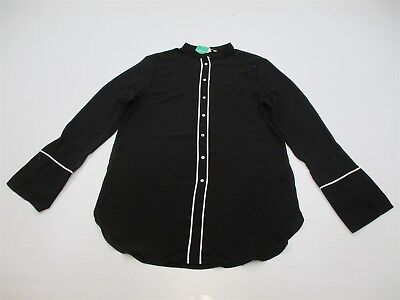 new H&M Top Women's Size 10 Collarless Black/White Button Front Blouse K1519