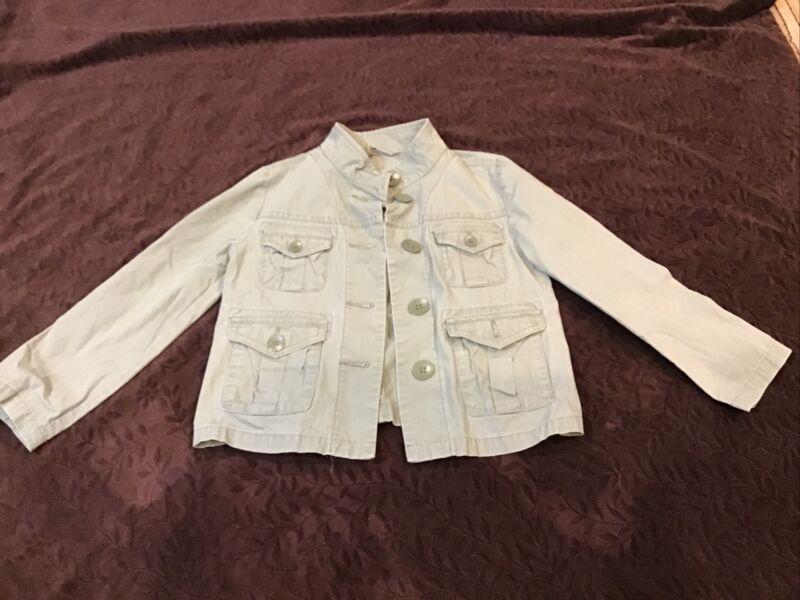GAP KIDS GIRLS/ BOYS Green Khaki lightweight jacket toddler sz 4/5 XS pockets