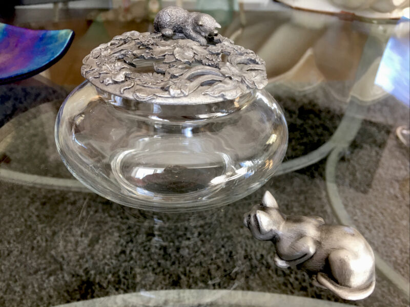 Rawcliff Kitten Cat Glass Pewter Potpourri & Pewter Crouching Cat Too Cute! XLNT