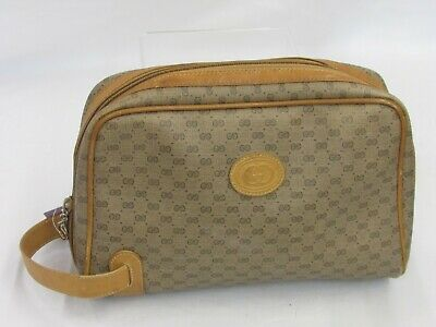 VINTAGE 80/90 Authentic GUCCI Toiletry Cosmetic Bag Brown/Tan Signature Leather
