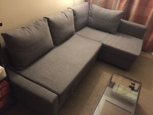 Gently used grey Ikea Friheten sofa bed with Ikea mattress