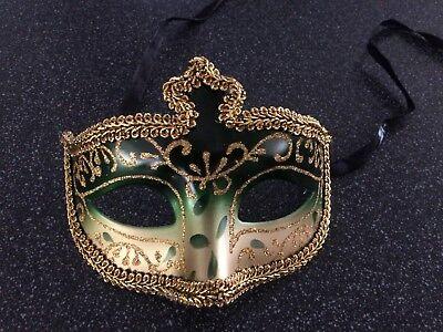 Mardi Gras Festival Masquerade Burlesque Mask Green & Gold  - Halloween Mardi Gras Festival