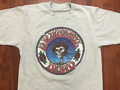 Vtg 1987 GRATEFUL DEAD Jerry Garcia SKULL ROSES Concert T-Shirt M Screen Sta