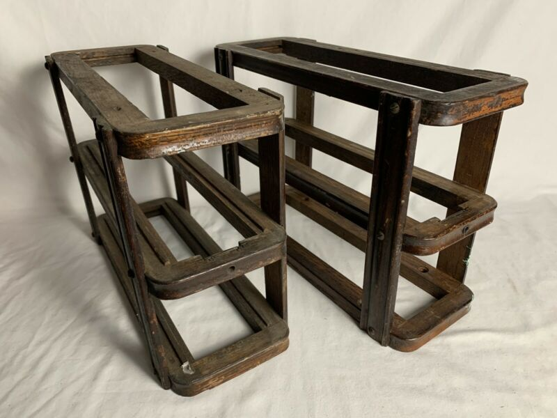 2 VTG OAK SINGER TREADLE SEWING MACHINE DRAWER RACKS