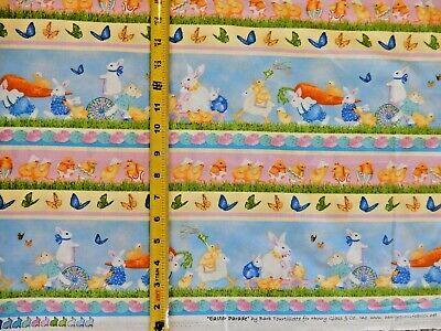 Easter Parade Bunny Rabbit Carrot Stripe Henry Glass Co 1376/11