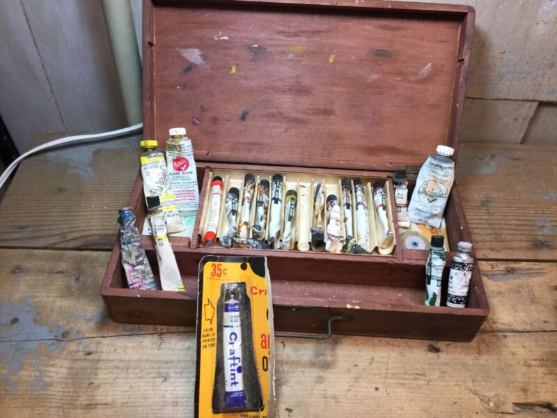 Vintage Artists Box With Oil Paints - Used