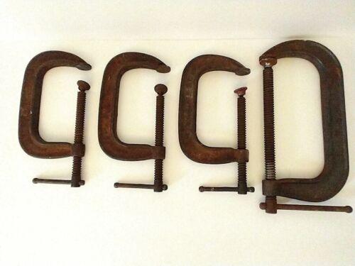 "4 Vintage Tools C Clamp Lot Woodworking Machinist Adjustable 5"" & 8"" Estate Sale"