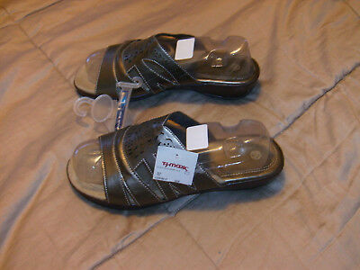 Ladies Gold-Browns Slide On WEDGE Sandals Size 8.5 Open Toe Comfort Footbed NWT