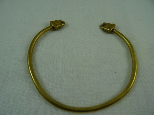 "Brass Up Trunk Elephant Head Cuff Bracelet Stackable 8"" 3mm"