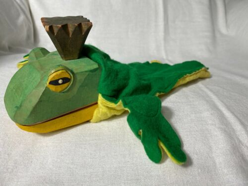 """Rare Wood Frog Hand Puppet w/ Felt Body 10"""" Werkstatt Lotte Sievers Hahn Spiel"""