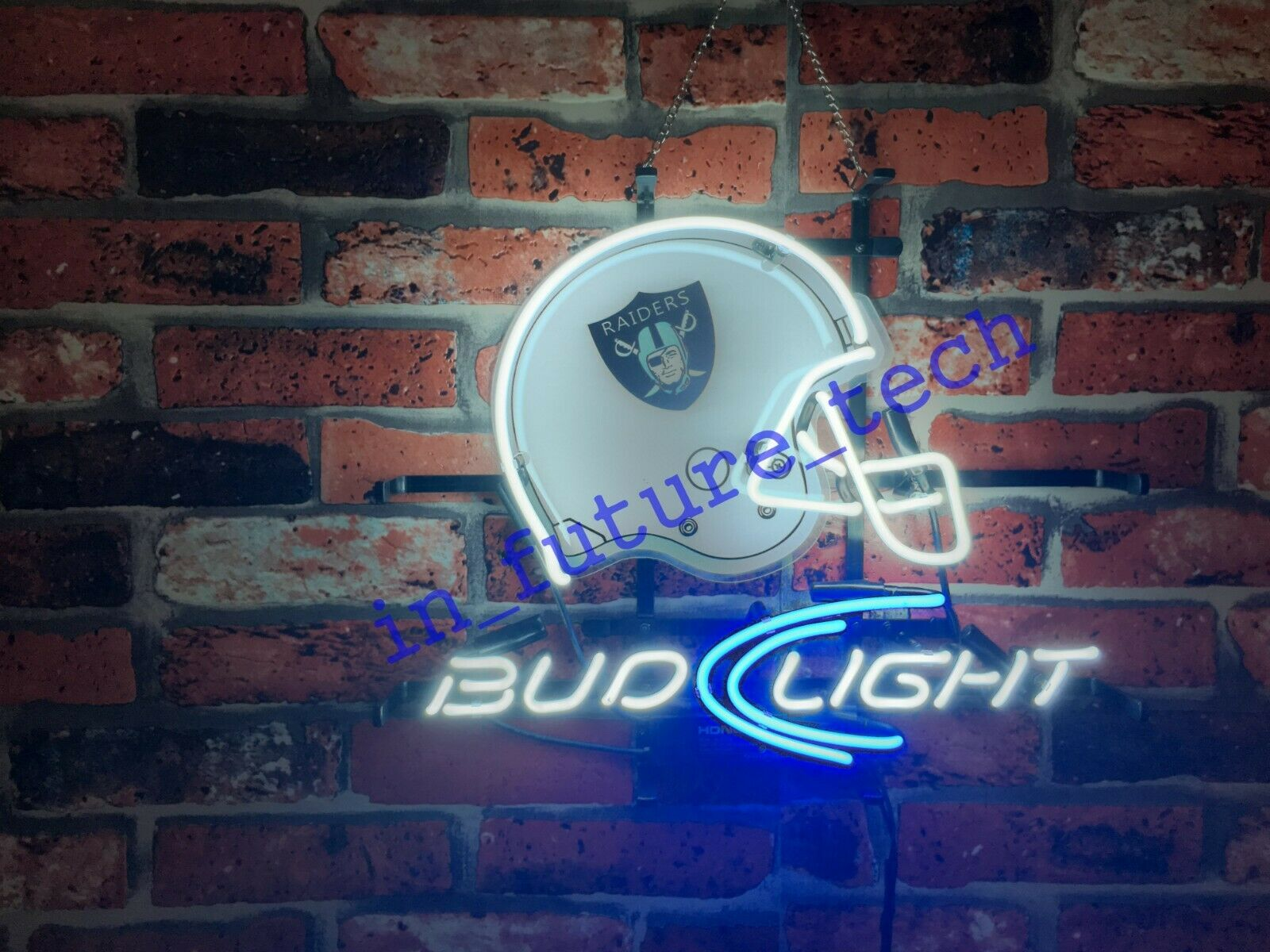 "New Oakland Raiders Bud Light Helmet Neon Light Sign 17""x14"""