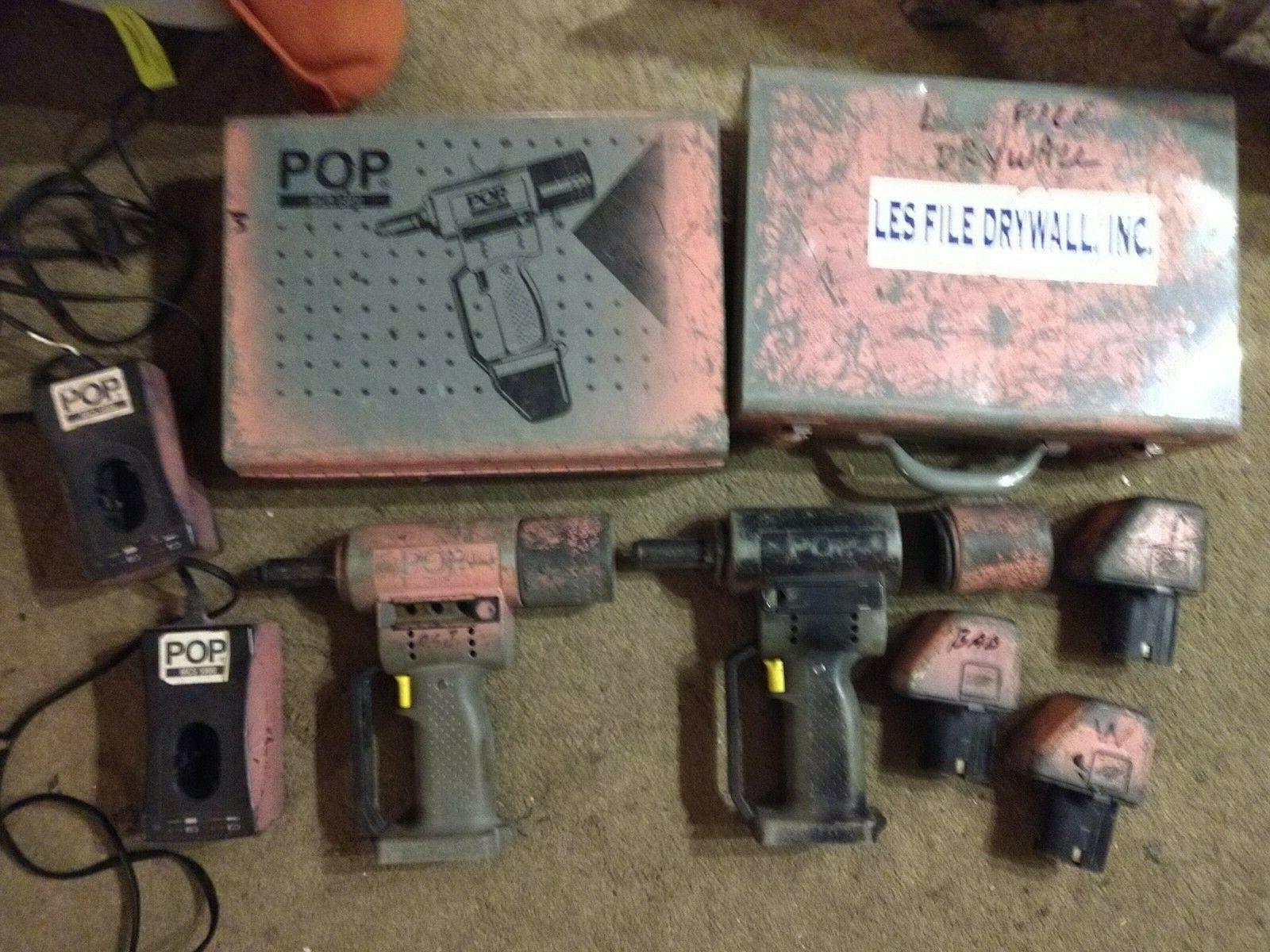 LOT POP MCS 5800 Cordless Rivet Tool Battery / Charger / Case READ  - $200.00