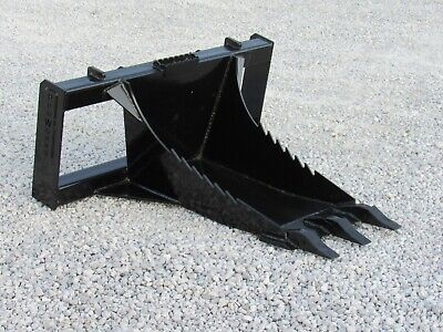 Heavy Duty Stump Bucket With Teeth Attachment Fits Skid Steer Quick Attach