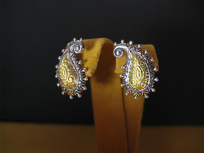 BARBARA BIXBY EARRINGS PAISLEY HE SS 18K SILVER GOLD FLOWER CARVED GIFT HIGH END