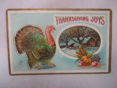 VINTAGE EMBOSSED THANKSGIVING POSTCARD TURKEY & SNOWY HOUSE SCENE UNUSED (Thanksgiving Scenes)