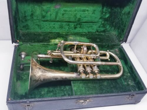 "1897 C.G CONN SHEPPARD CROOK CORNET GOLD PLATED "" ORIGINAL FINISH""."