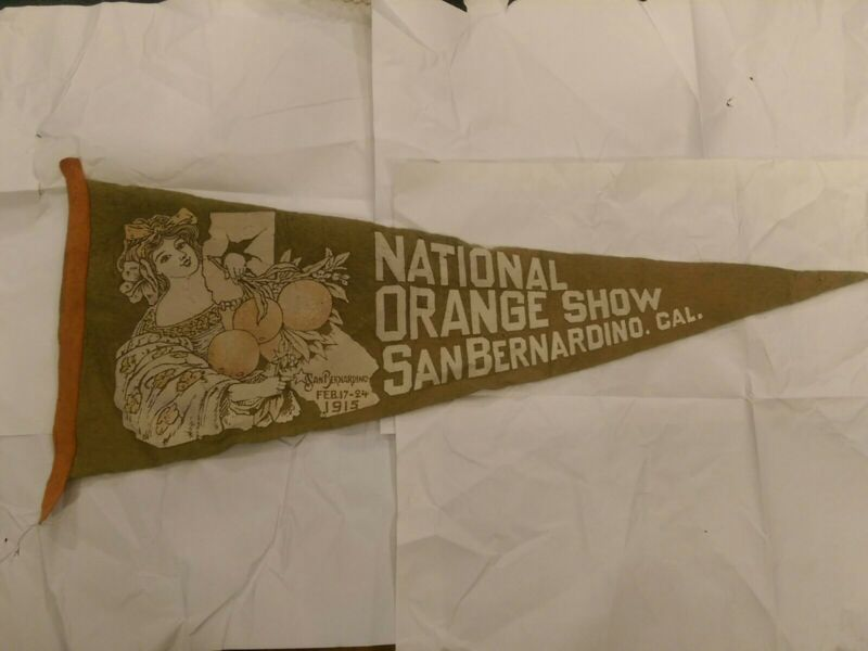 Antique 1915 Felt Pennant - National Orange Show, San Bernardino, California USA