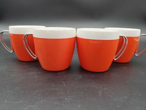 Vintage N.F.C. Orange White Chrome Cups Mid Century Insulated Plastic Mug