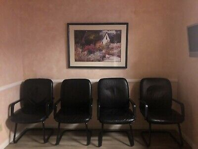 Four Top Condition Black Waiting Roomconference Chairs.