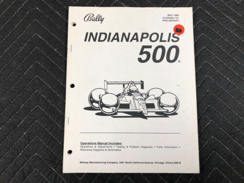 Bally Indianapolis 500 Pinball Machine Manual Schematics FREE SHIP