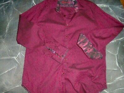 ROBERT GRAHAM Button Dress Shirt  Flip Cuffs Size L Dress Shirt Sizes