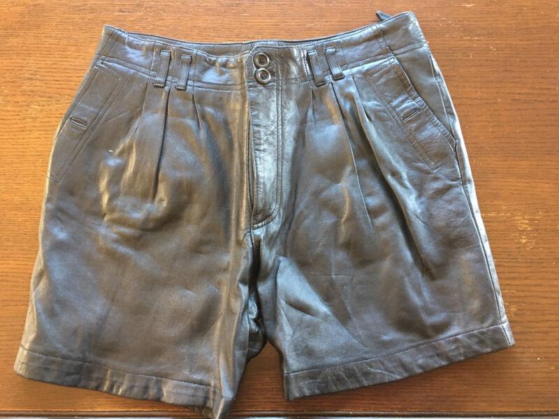 """Vintage Black Leather Mens Shorts Leder Lined Large (~34"""") Supple Orig Buttons"""