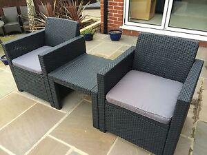 Allibert Merano Rattan Style Table & Chair Set Garden Furniture 5 Year Guarentee