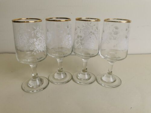 Gold Rim Sherry Glasses etched Design x4 collectors bar, E12