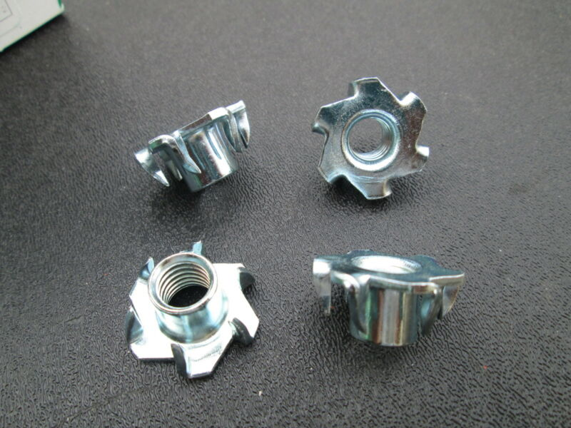"""3/8""""-16 Tee Nuts 6-Prong  Low Carbon Steel Round Base"""